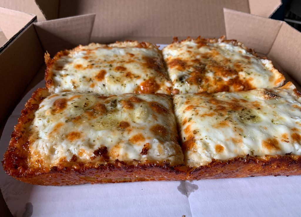 square cheese pizza detroit style pizza
