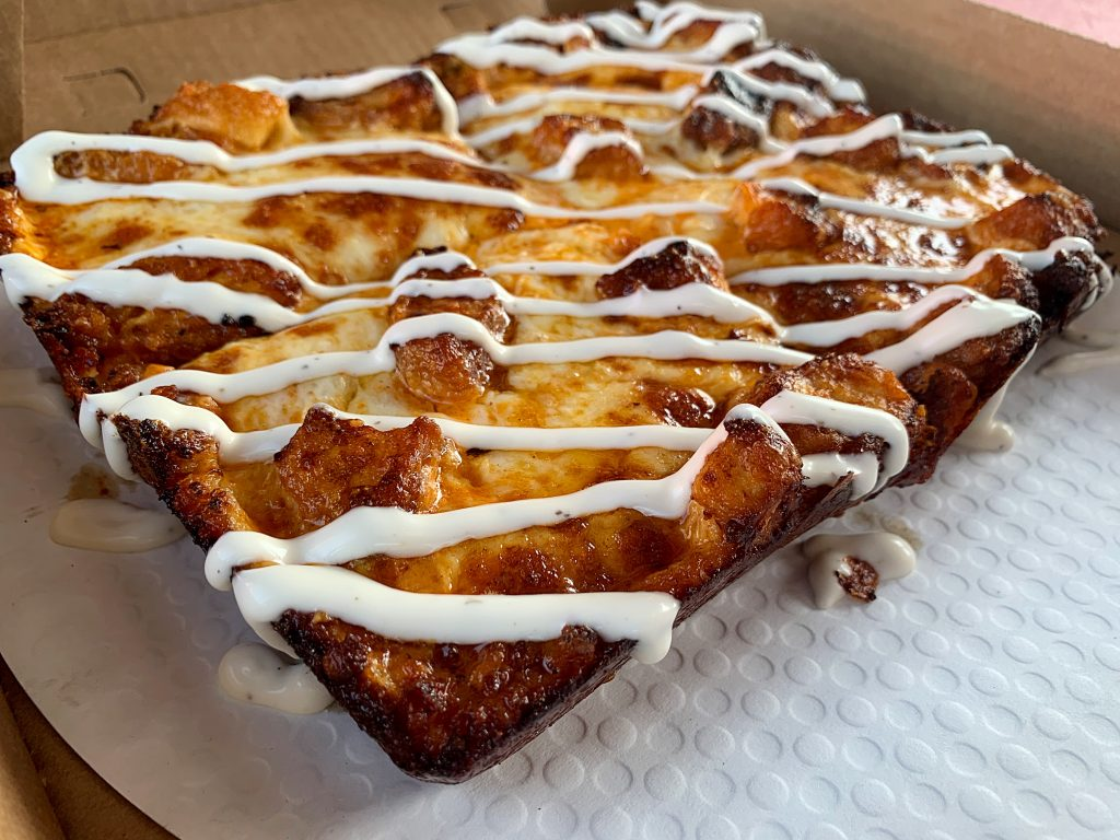 square buffalo chicken pizza detroit style pizza