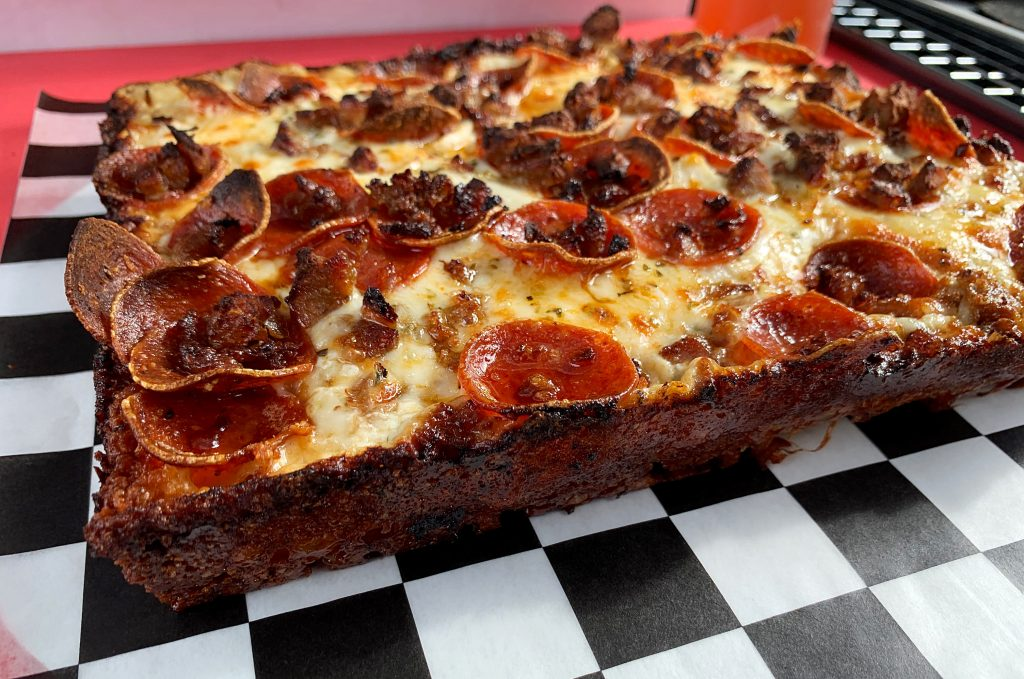 pepperoni sausage pizza detroit style pizza